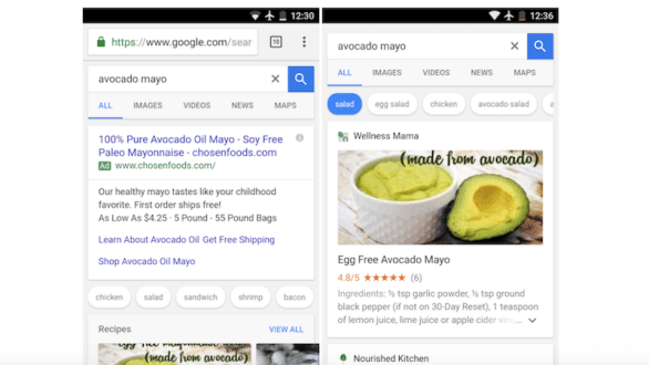 Google Revamps Mobile Search UI When Looking for Recipes to Add Suggestions