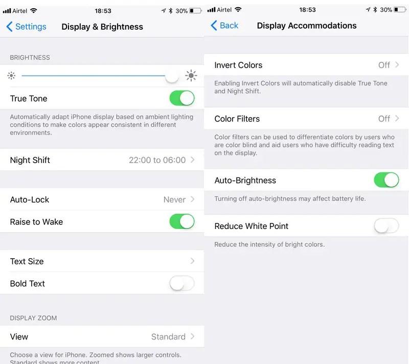 iOS 11 display settings iOS 11 display settings