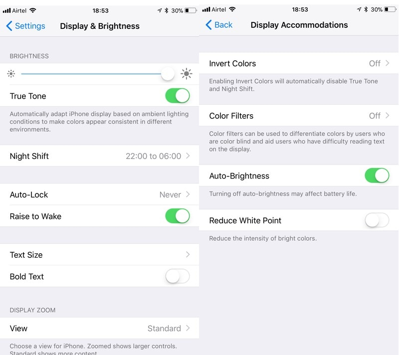 iOS 11 display settings iOS 11 display settings