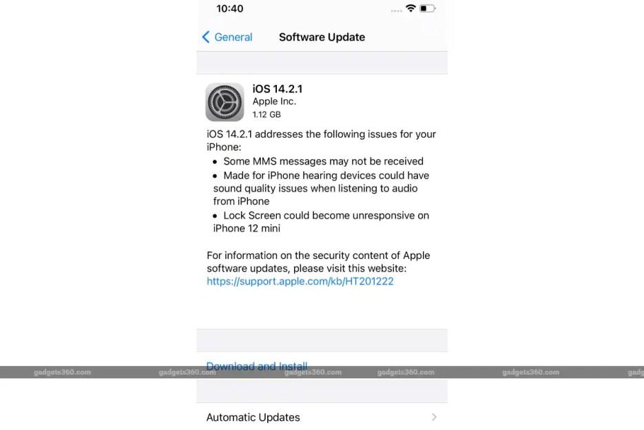 ios 14 2 1 update screenshot gadgets 360 iOS 14.2.1