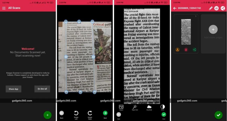 kaagaz स्कैनर ऐप स्क्रीनशॉट गैजेट्स 360 Kaagaz स्कैनर