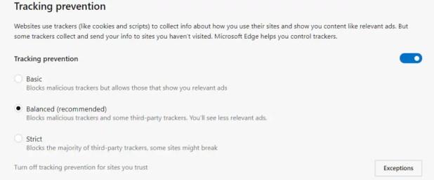 microsoft edge tracking prevention update Microsoft Edge