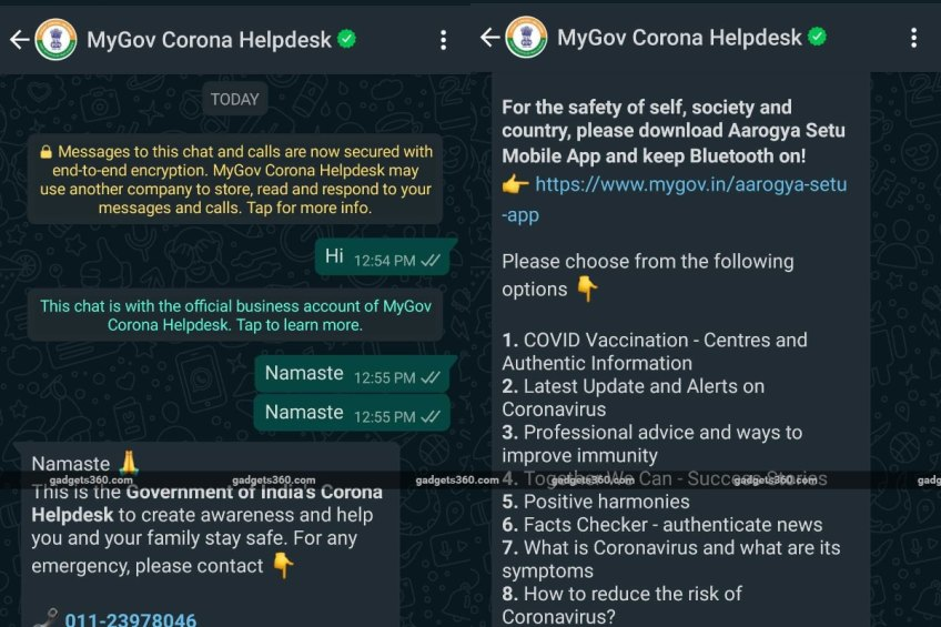 MyGov Chatbot Helps Find Nearby Vaccination Centres on WhatsApp