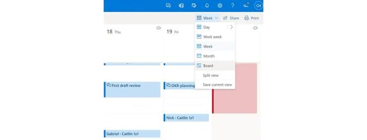 outlook calendar board view switch microsoft microsoft