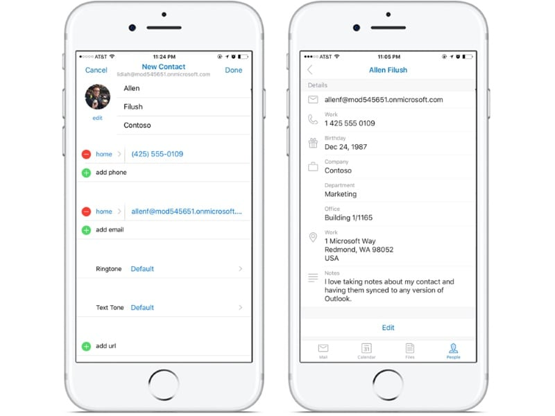 Microsoft's Outlook App Gets Redesigned Contact Card and Editing