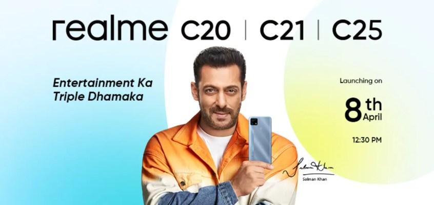 Realme C20, Realme C21, Realme C25 Launching in India on April 8