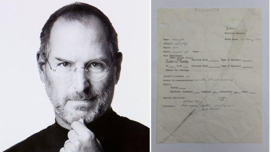 A handwritten application for Steve Jobs 'job at auction sells for £ 162,000 from 1973