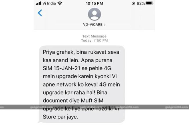 vi 3g 4g upgrade delhi circle image gadgets 360 Vi  Vodafone Idea