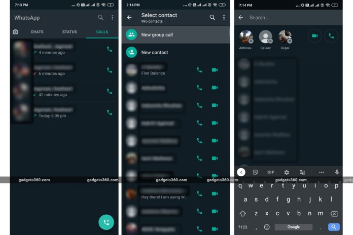 whatsapp android group call screenshots gadgets 360 WhatsApp