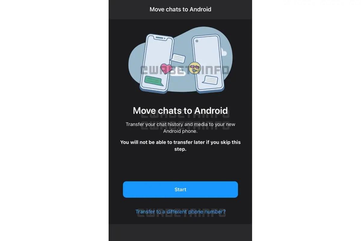 whatsapp chat history migration tool phone number transfer screenshot image wabetainfo WhatsApp