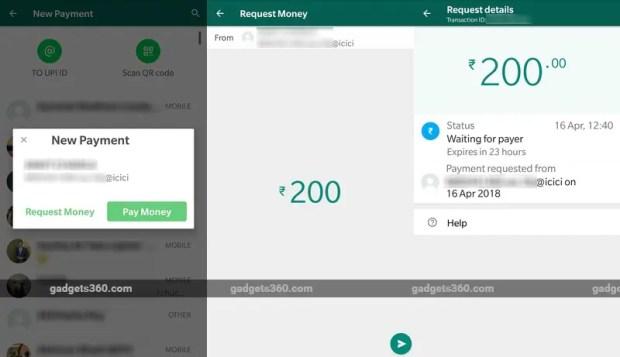 whatsapp payments request money screenshots one gadgets 360 whatsapp
