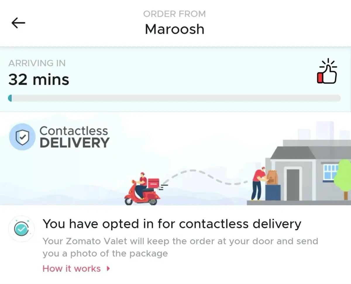 zomato contactless delivery Zomato