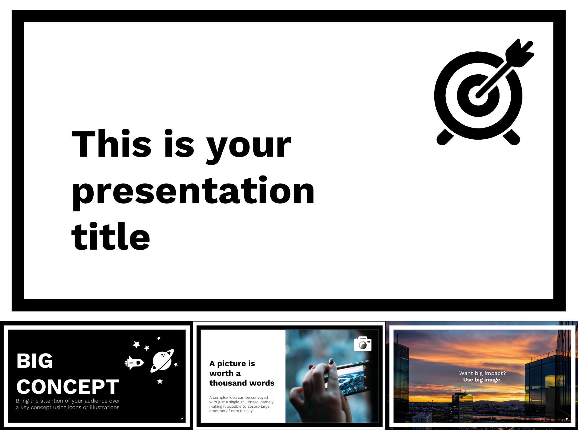 Black & White Free Google Slides Templates Theme - The Internet Tips