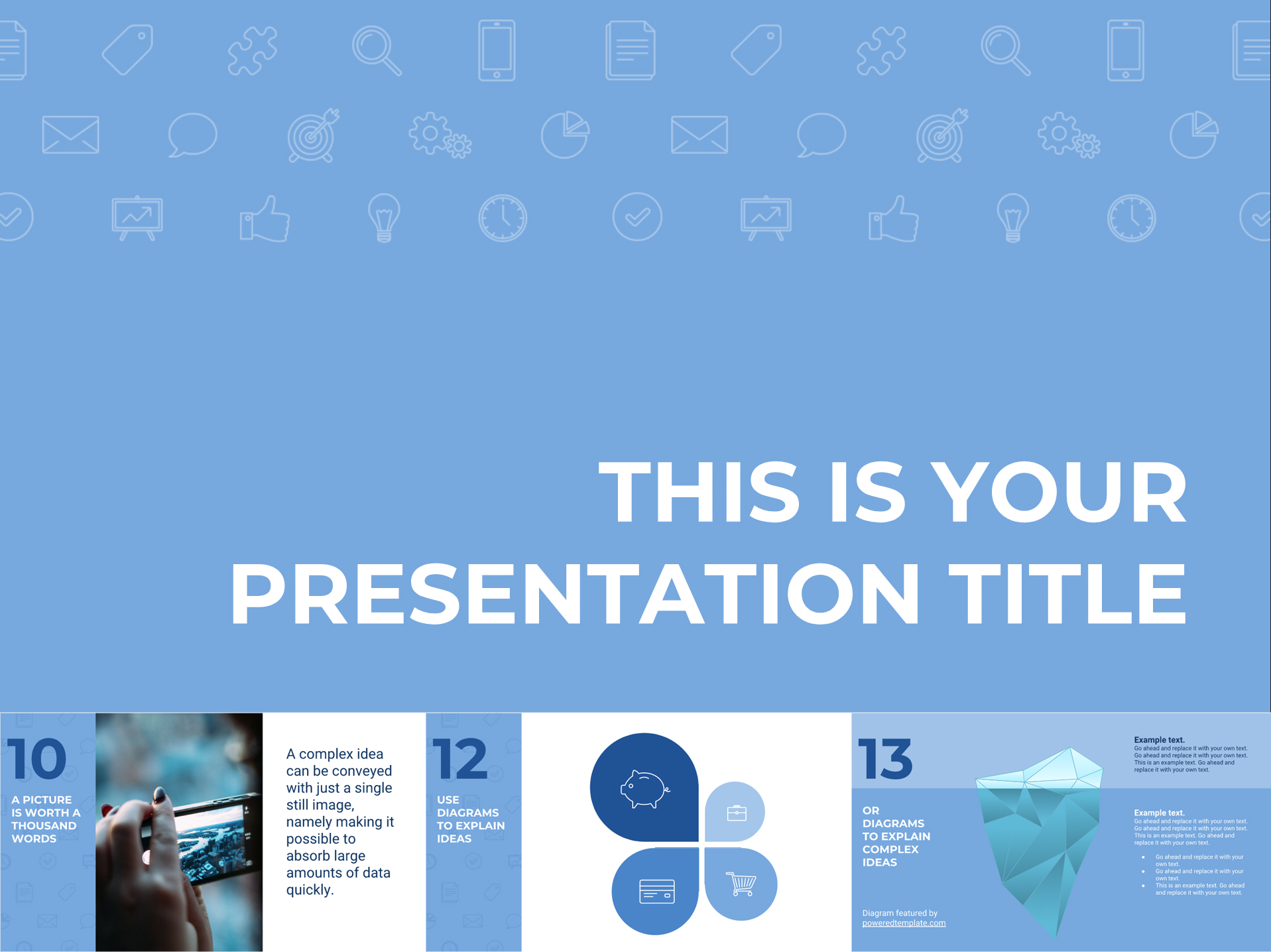 Soft Blue Free Template with Icon Pattern - The Internet Tips