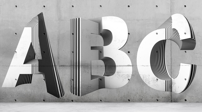 ABC letters optical illusion design on wall