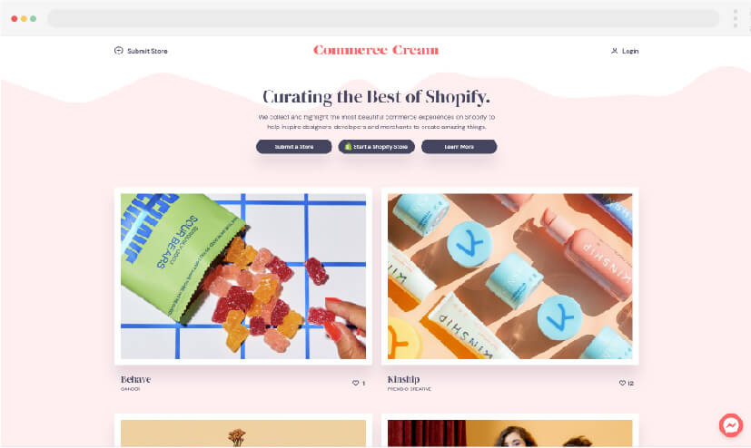 11 Web design inspiration Commerce cream