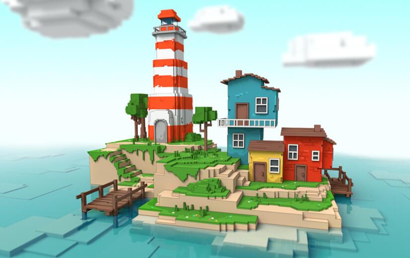 Island illustration design in voxel-pixel style - trending in 2021.jpg