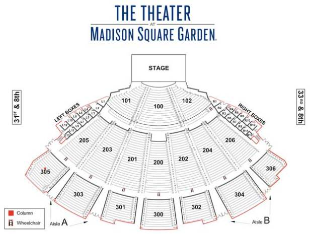 Msg Theater Seating Chart Concert