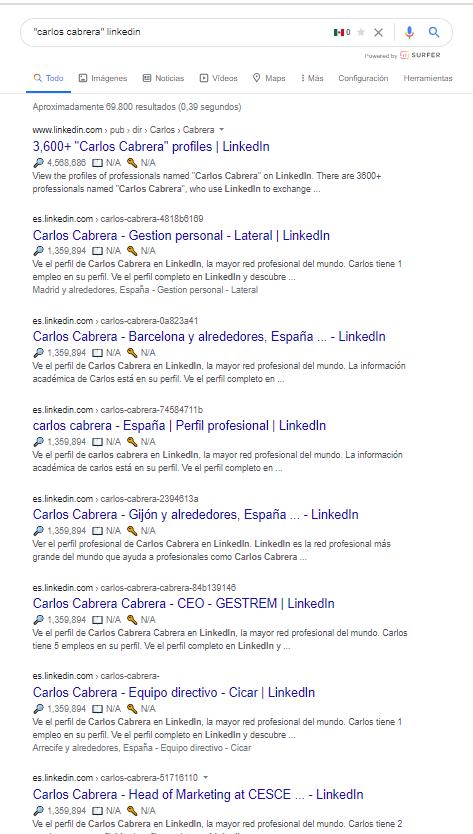 búsqueda de perfil linkedin