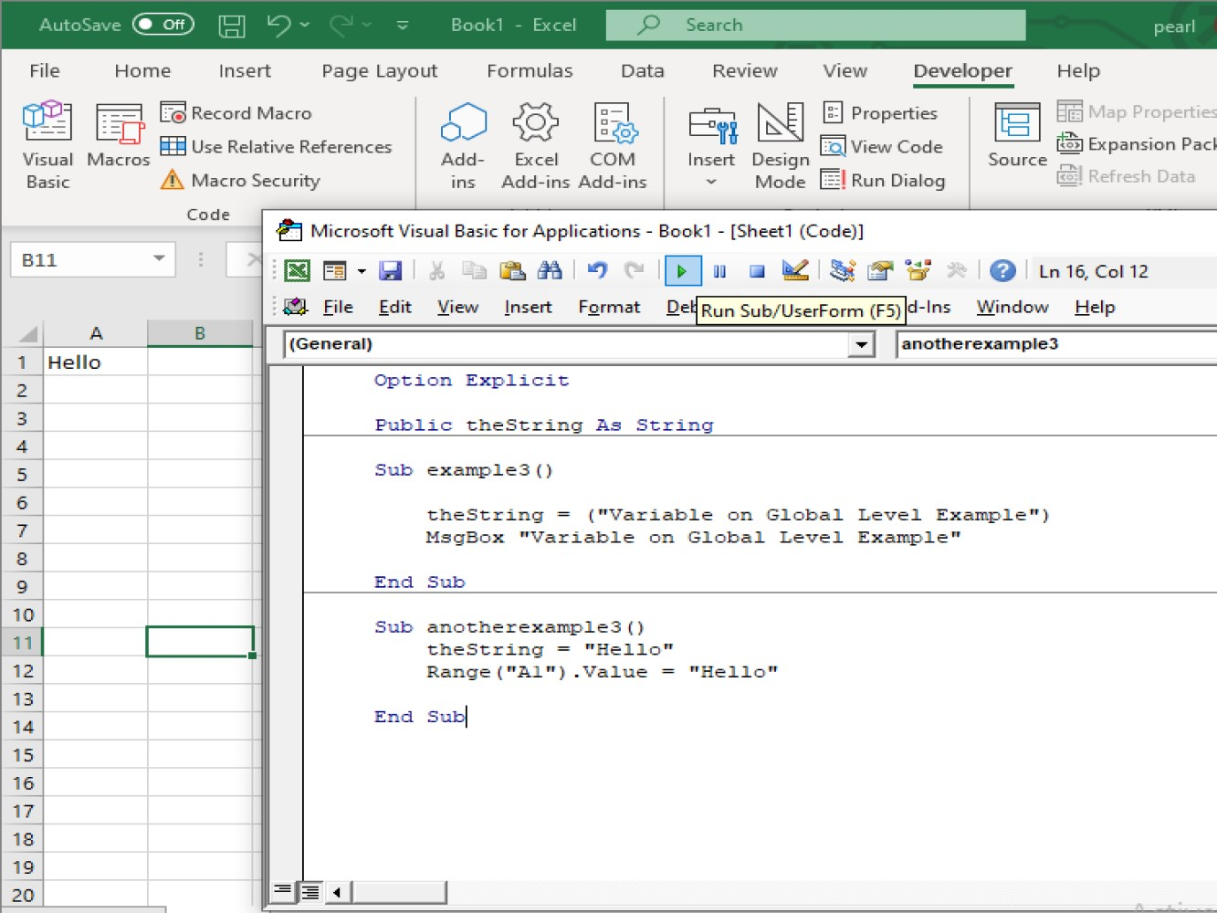 How To Use An Excel Vba Global Variable