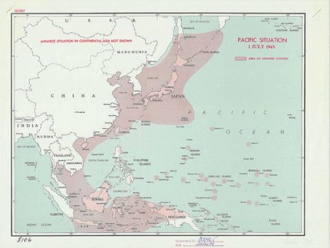 Map that was confidential of CIA is free for anyone to download     A map showing the domination of the Asian region by Japan in 1945  The area  shaded with light color is the area where domination of Japan is reaching