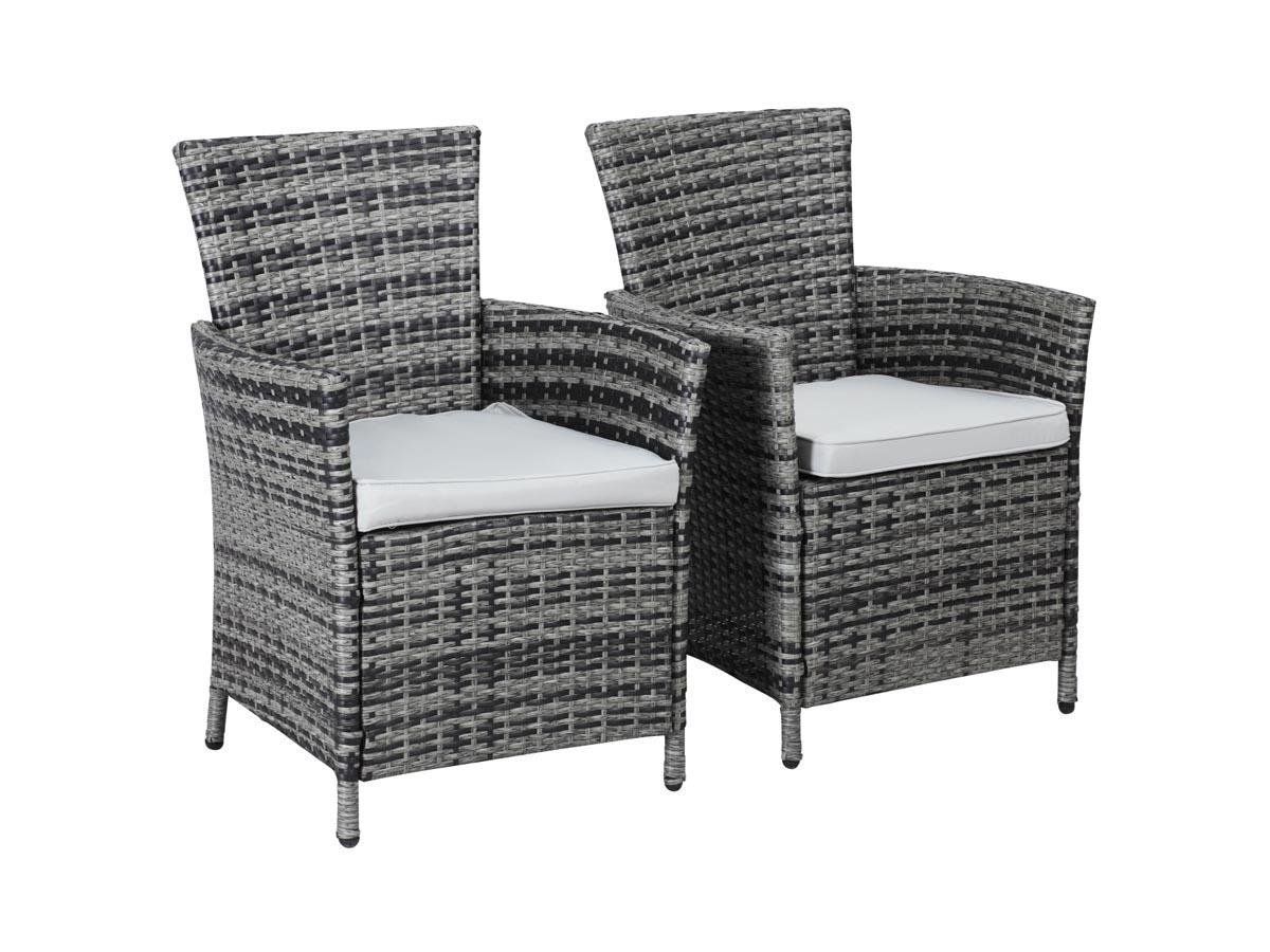 fauteuil jardin en resine tressee st tropez florida gris lot de 2 86761 86763