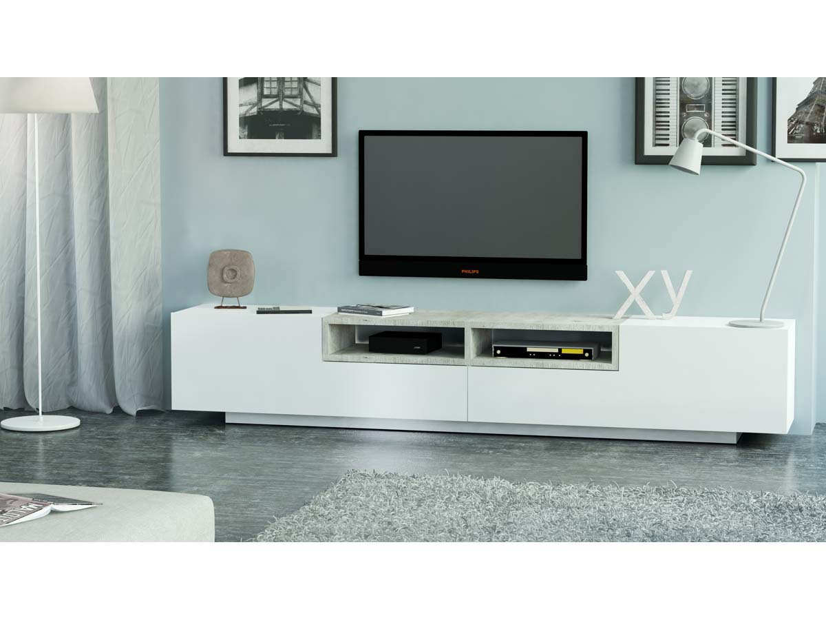 meuble tv jim blanc beton 250 x