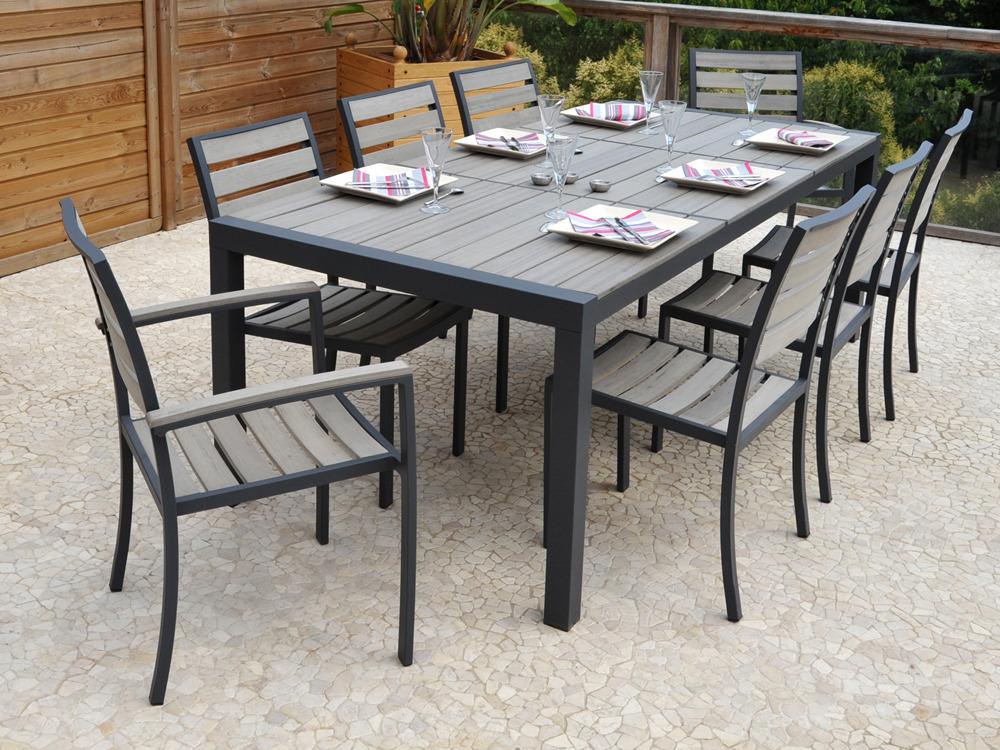 aluminium newport table 6 chaises