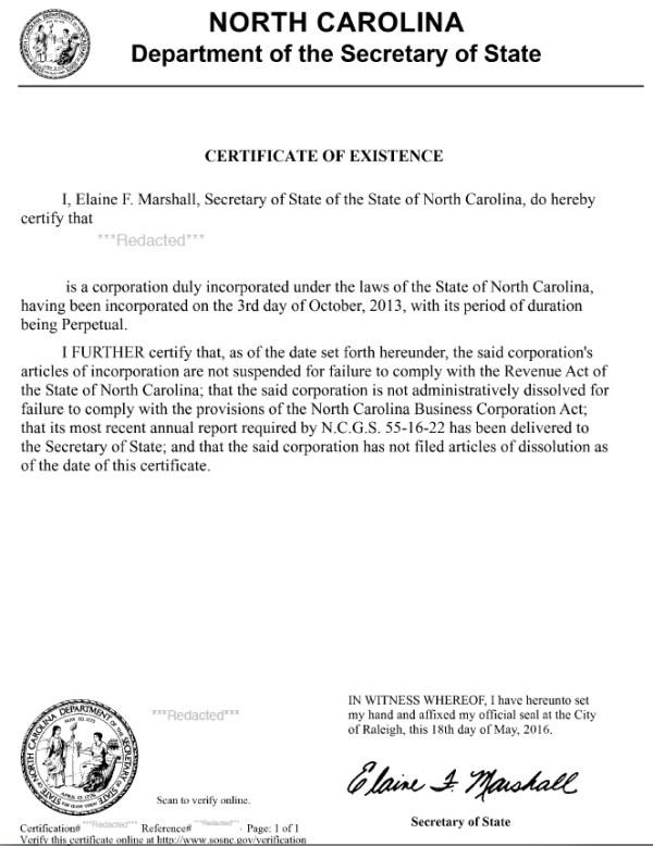 South Carolina Certificate of Good Standing | Harbor ...