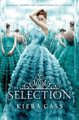 Book cover for The Selection by Keira Cass. Woman in gown covers her face with arm.
