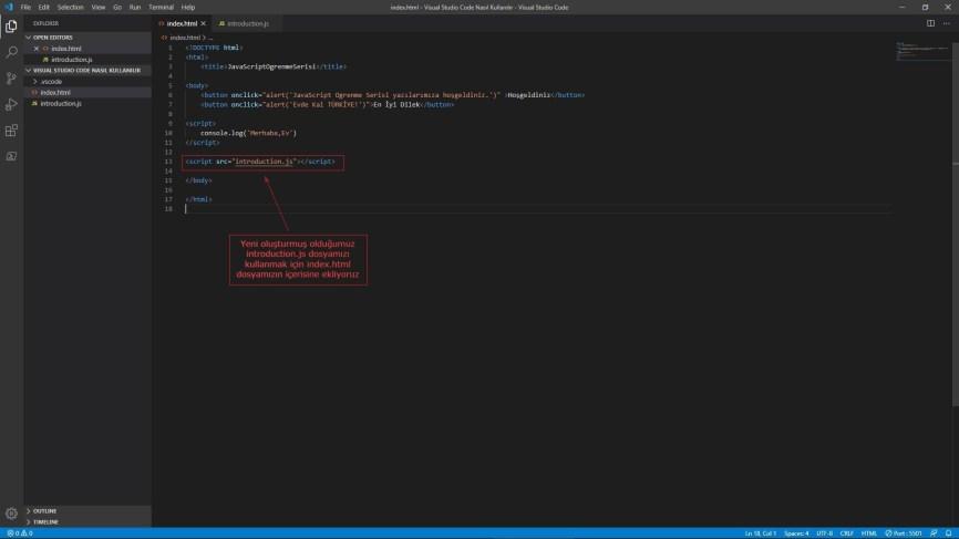 Visual Studio Code index.html eklenti