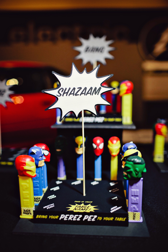 Fun Wedding Idea-superhero-pez-escort-cards