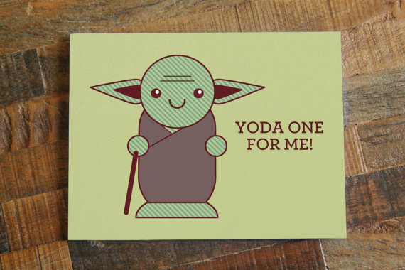Valentine's Day Cards Yoda One For Me V-day Holiday Star Wars DIY Do It Yourself Green Love Heart