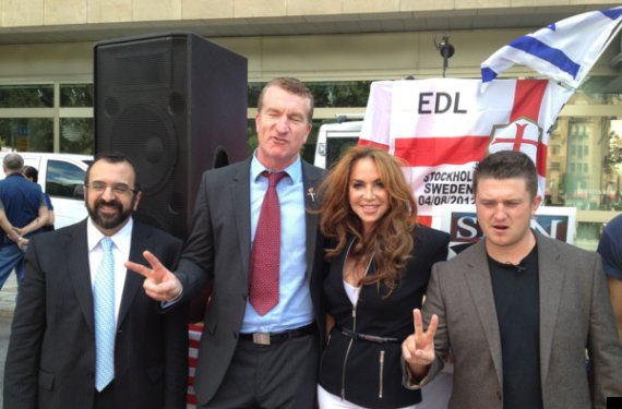 Former EDL leadership alongside American counter jihad activists Robert Spencer and Pamela Geller