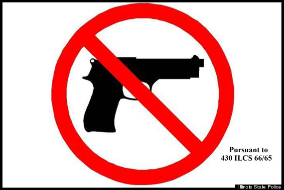 Fun signs that every library in IL had to put up in recent years, assuming they did not want to allow guns. (Image source)
