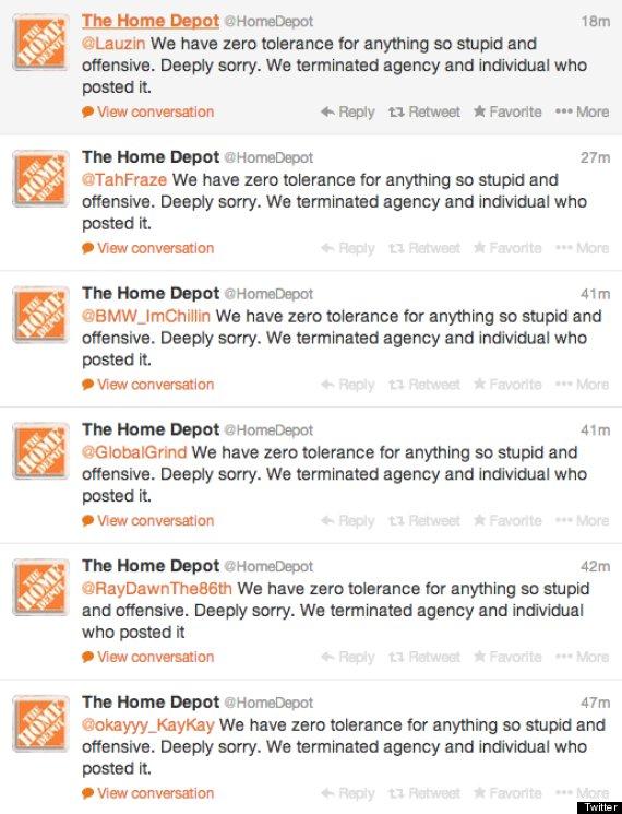 home depot racist tweet