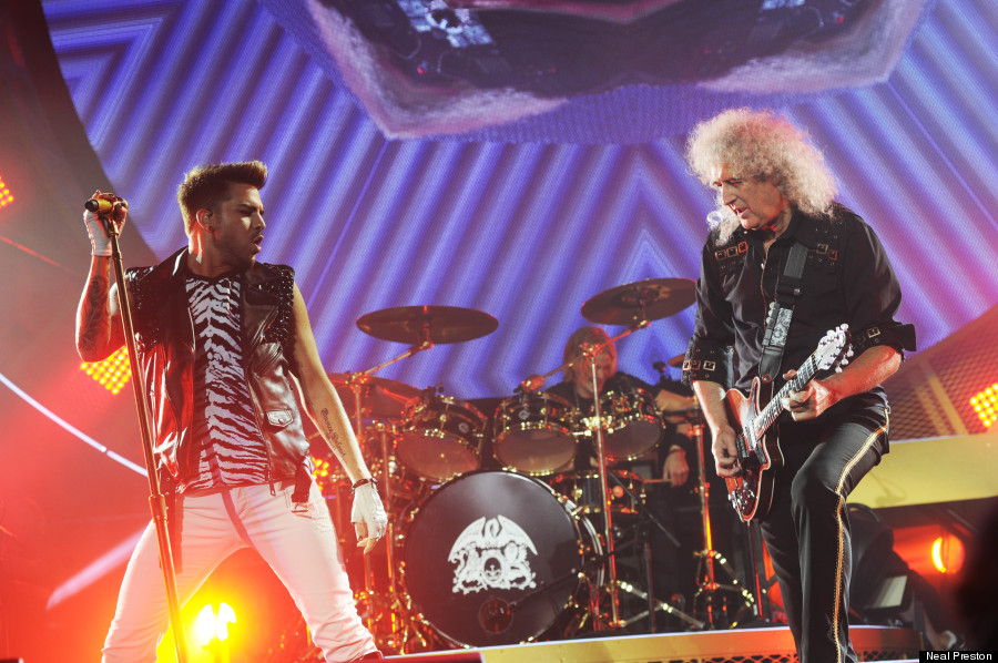 Adam Lambert performing with Brian May