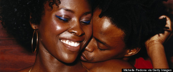black woman kissing