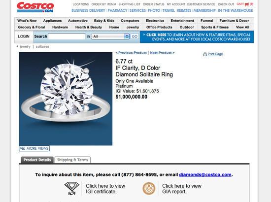 Costco Selling 1 Million Diamond Ring HuffPost