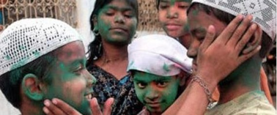 Muslim children playing Hindu Holi