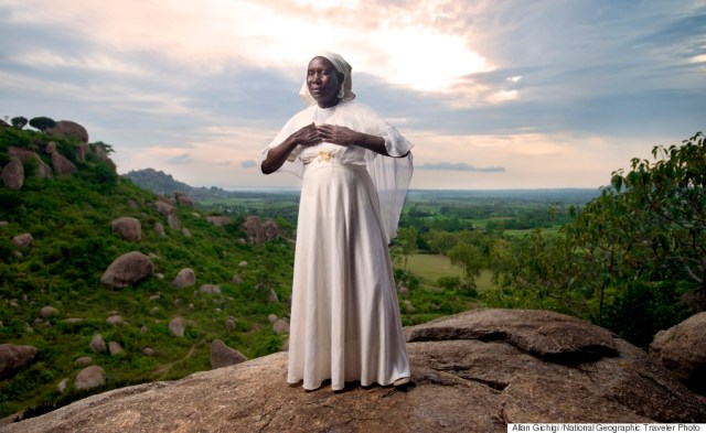 Kit Mikayi is a rock formation about 40m high situated west of kisumu, western Kenya. She climbs up the rocks rocks daily to meditate. (Photo and caption by Allan Gichigi /National Geographic Traveler Photo Contest). Image credit - http://www.huffingtonpost.com/2015/05/19/national-geographic-traveler-photo-contest_n_7337034.html