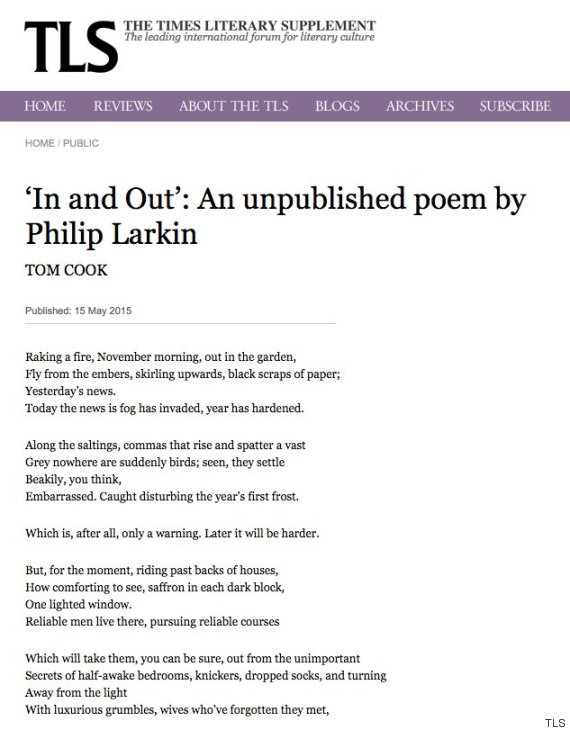tls philip larkin in and out