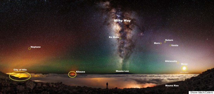 Ultimate 'Selfie' Taken By Photographer On Rim Of A Hawaiian Volcano With Milky Way Background