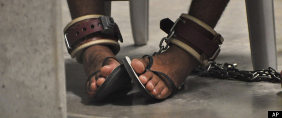 Shackled feet at US immigration court