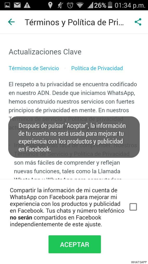 condiciones whatsapp