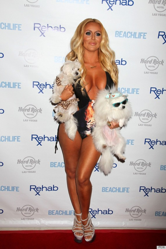 Aubrey O Day Poses At The Hard Rock Hotel In Las Vegas With Dogs     aubrey o day