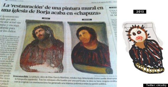 Resultado de imagen de Una abuela quiso restaurar una pintura antigua y la arruinó