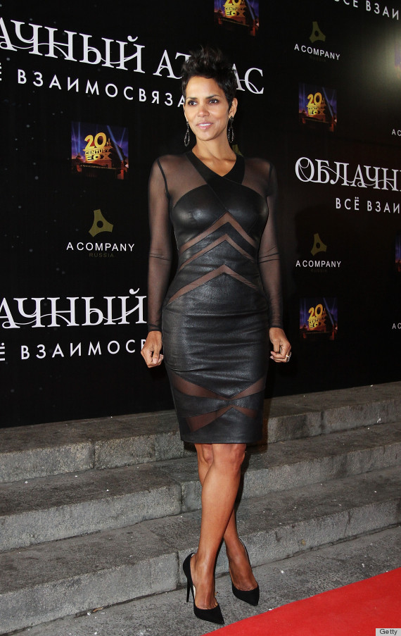 halle berry sheer leather dress