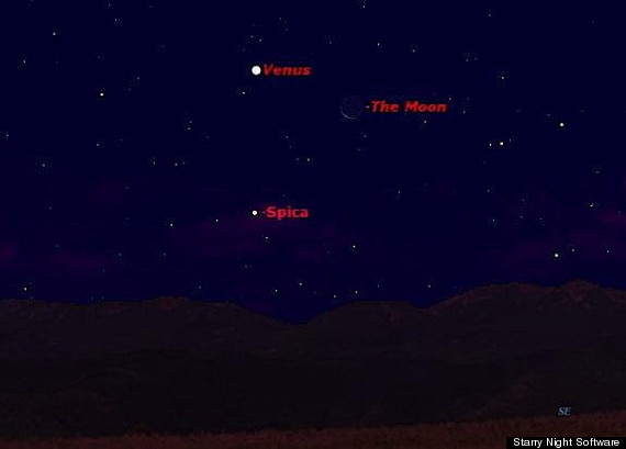 Venus Moon Spica Star To Create Celestial Triangle In