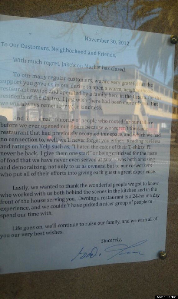 Jake S On Market San Francisco Restaurant Owners Lash Out
